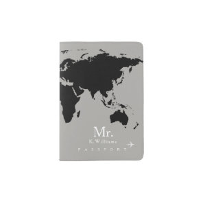 black world map on grey with Mr. name Passport Holder