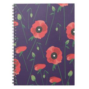 Blooming Springtime Poppies Purple Notebook