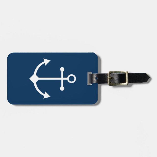 Blue anchor luggage tag