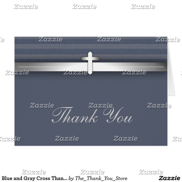 Blue and Grey Cross Thank You Cards