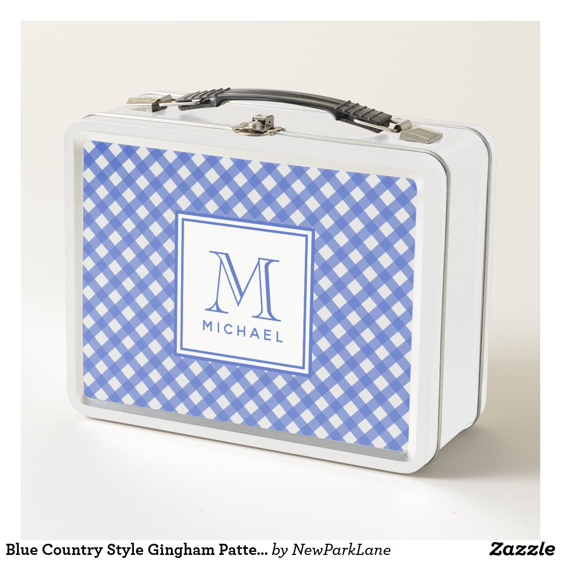 Blue Country Style Gingham Pattern Monogrammed Metal Lunch Box