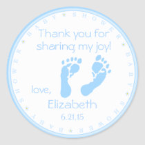Blue Footprints-Baby Shower Classic Round Sticker