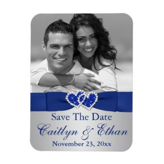 Blue, Silver Hearts Save the Date Photo Magnet