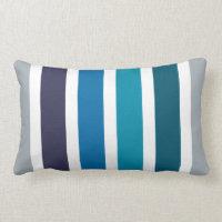 Blue Teal White Stripes Pillow