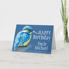 Blue Uncle bird fine art painted birthday card