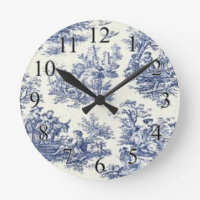 Blue Vintage Toile Round Clock