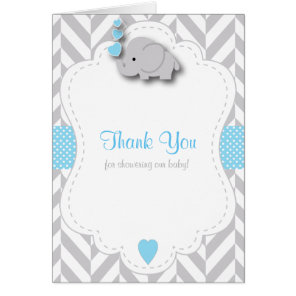 Blue, White Grey Elephant Baby Shower Thank You