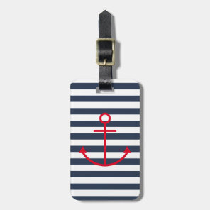 Blue & White Striped Red Anchor Luggage Tag