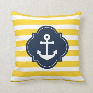 Blue White & Yellow Nautical Anchor Striped Pillow
