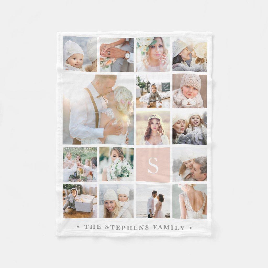 Monogram Photo Collage Blanket
