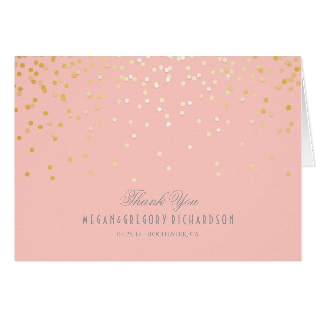 Blush Pink Gold Confetti Wedding Thank You