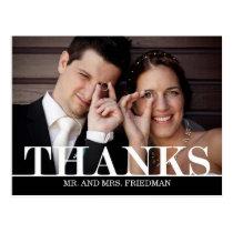 Bold Thanks Wedding Thank You Card Postcard