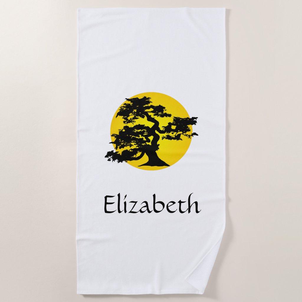 Bonsai Sun Personalised Beach Towel