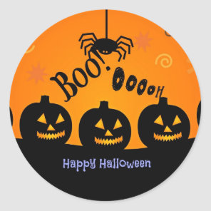 Boo! Happy Halloween in orange and black Classic Round Sticker