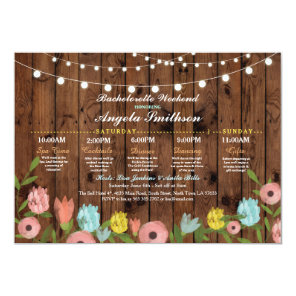 Bridal Shower Wood Floral Itinerary Bachelorette Invitation