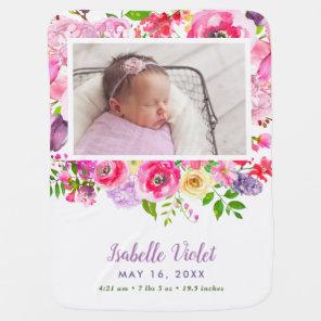 Bright Blooms Baby Girl Birth Stat Photo Baby Blanket