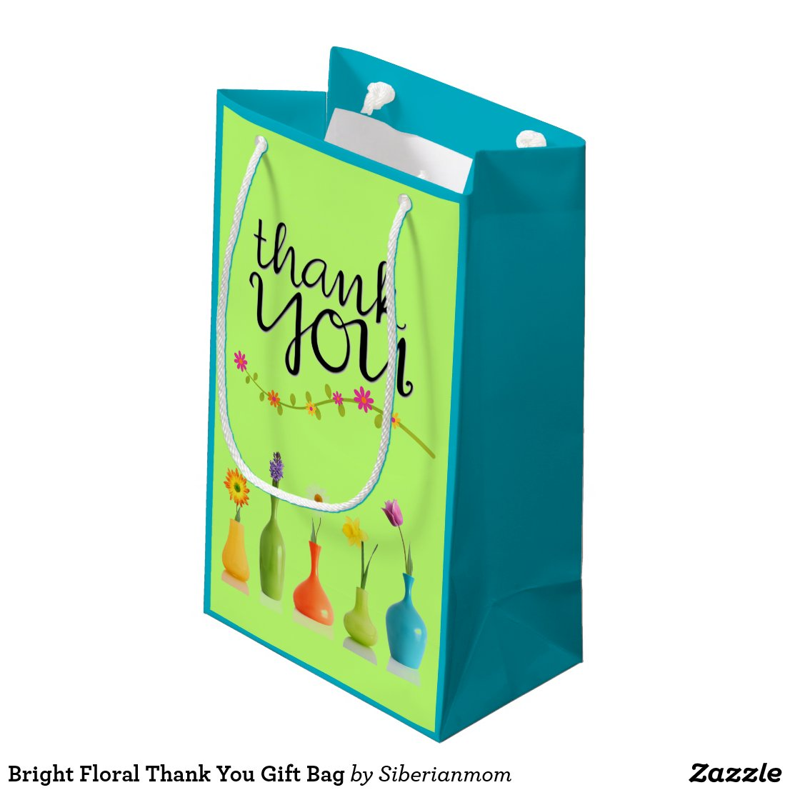 Bright Floral Thank You Gift Bag