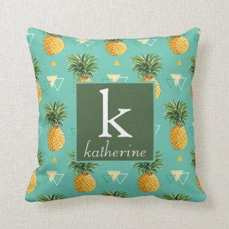 Bright Pineapples On Geometric Pattern Cushion