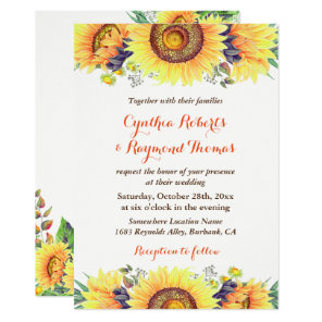 Bright Sunflower Bouquet Rustic Chic Wedding Invitation