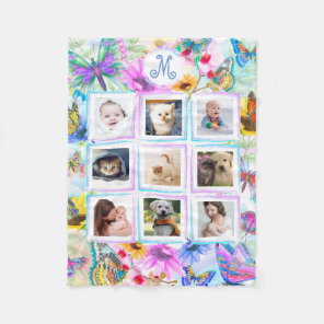 Butterflies and flowers 9 Photo Collage Monogram Fleece Blanket