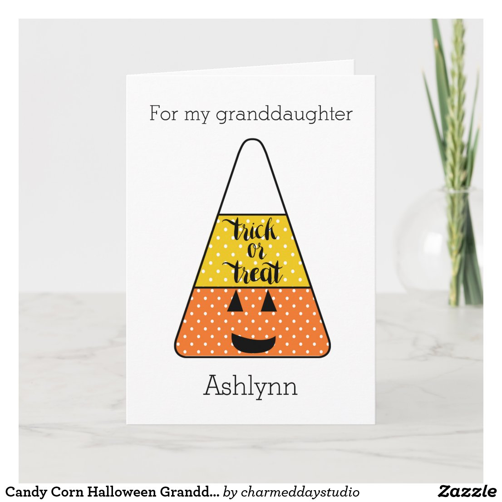 Candy Corn Halloween Granddaughter Card