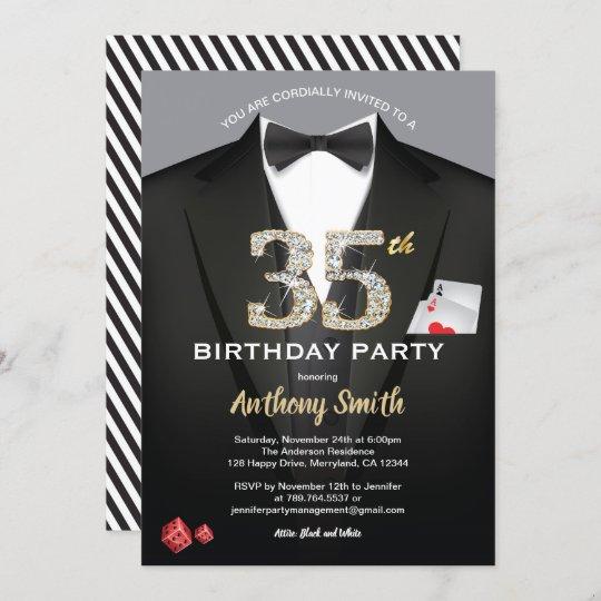 casino 35th birthday invitation black and white invitation