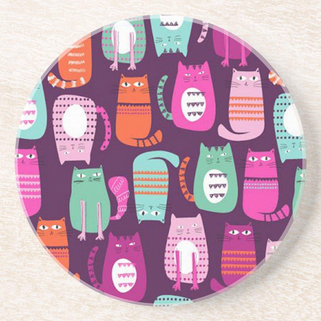 Cat Sandstone Drink Coaster