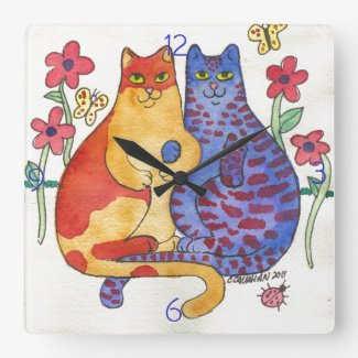 Cats Holding Hands Folk Art