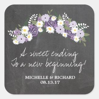 Chalkboard Floral Wedding Stickers