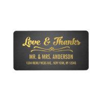 Chalkboard Gold Script Wedding Thank You Label