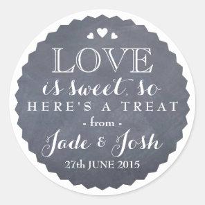 Chalkboard Hearts Wedding Favour Jar Round Sticker
