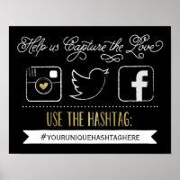 Chalkboard Social Media Hashtag Wedding Poster