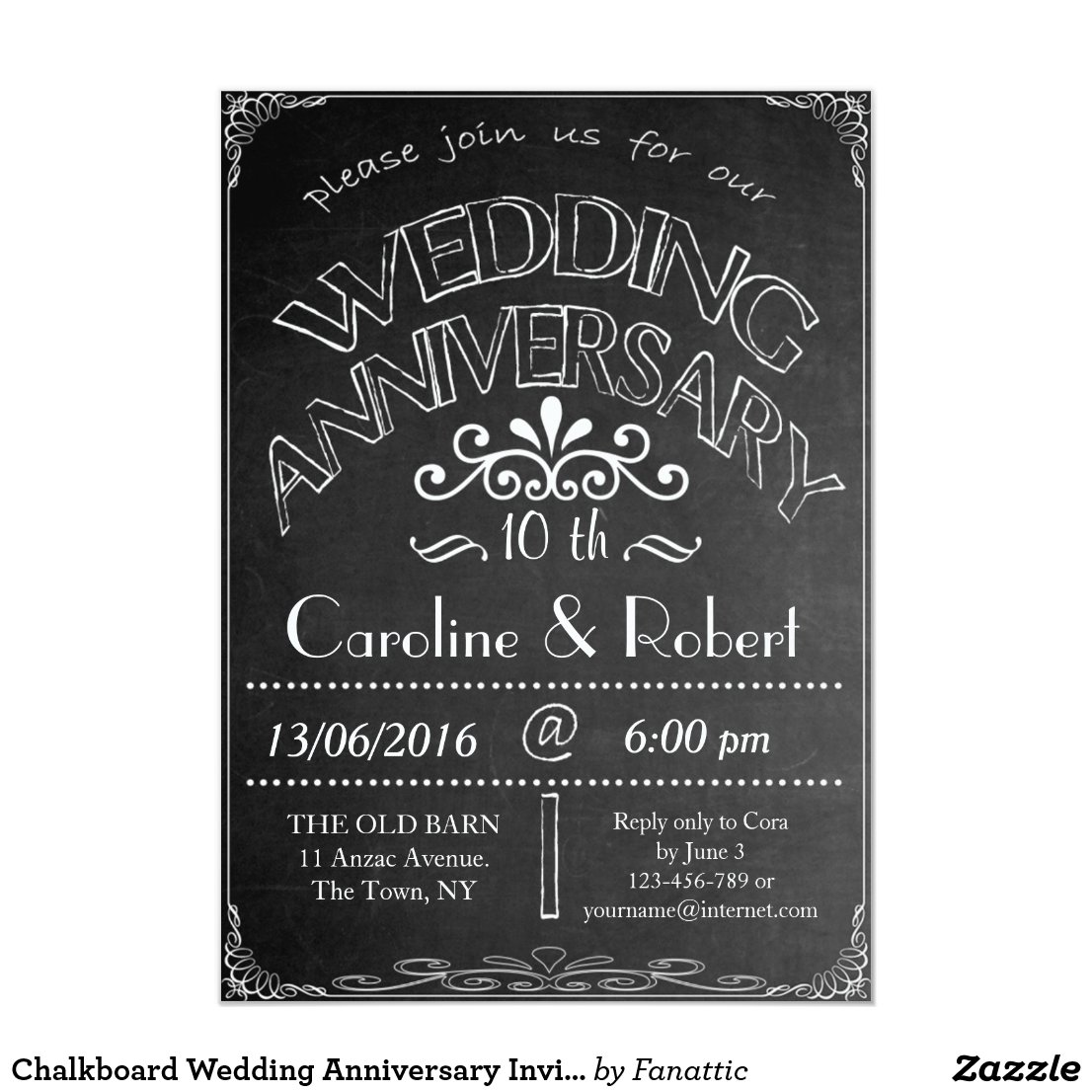Chalkboard Wedding Anniversary Invitation