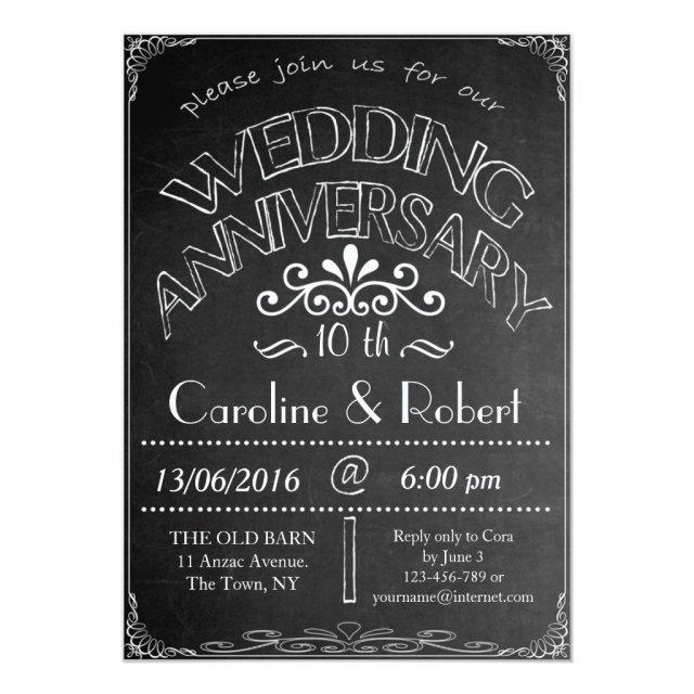Chalkboard Wedding Anniversary Invitation