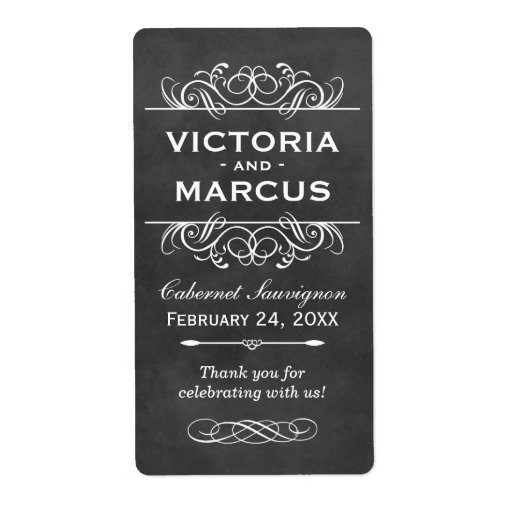 Chalkboard Wedding Wine Bottle Labels