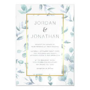 Charming Botanical Watercolor Leaves Wedding Magnetic Invitation