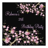 Cherry Blossom 21st Elegant Birthday Party Card