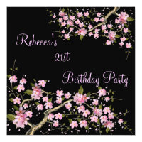 Cherry Blossom 21st Elegant Birthday Party Card