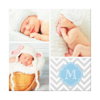 Chevron Monogram Baby Photo Collage Nursery Art Canvas Print