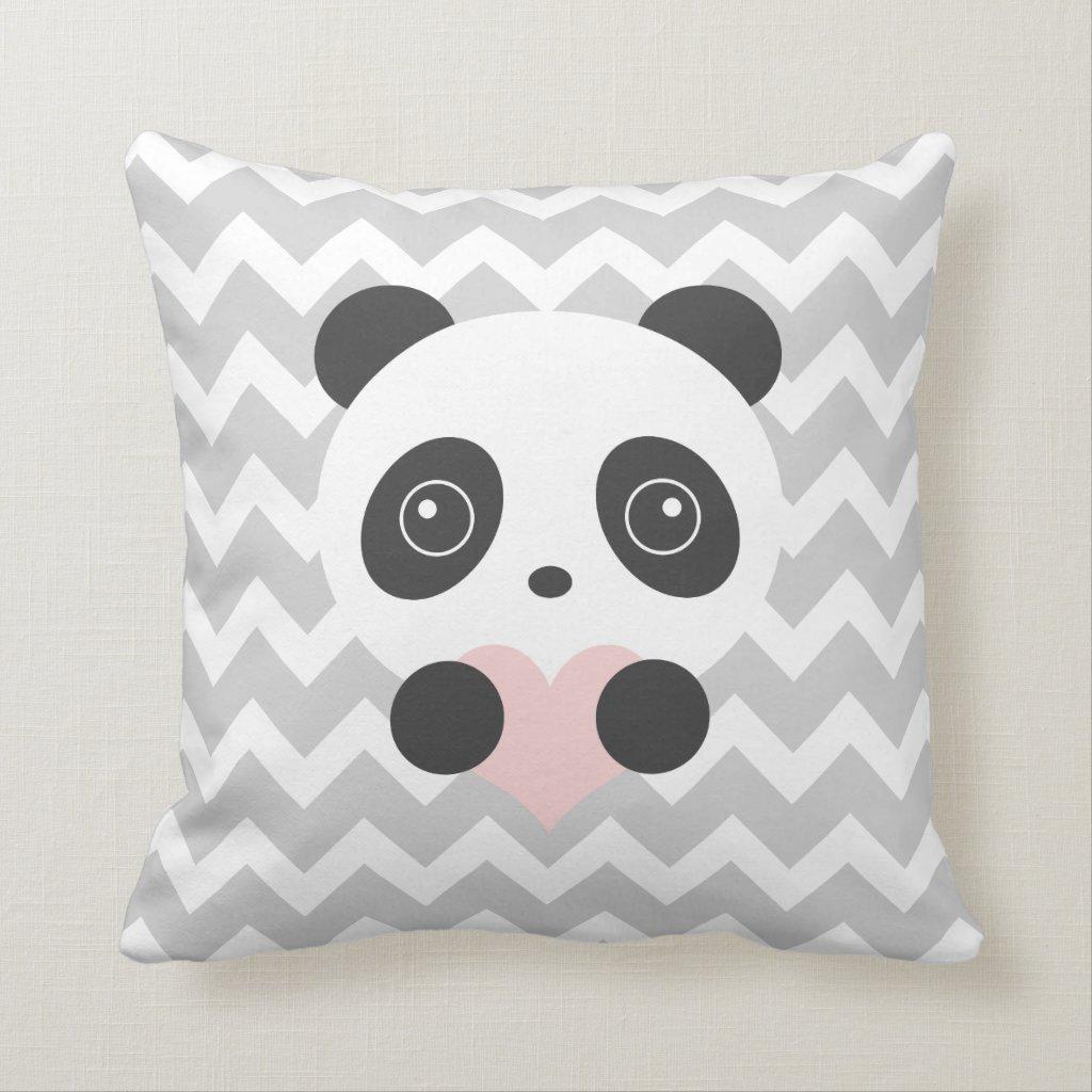Chevron Panda Heart Cushion