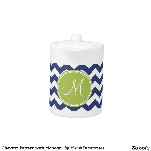 Chevron Pattern Monogram Tea Pot