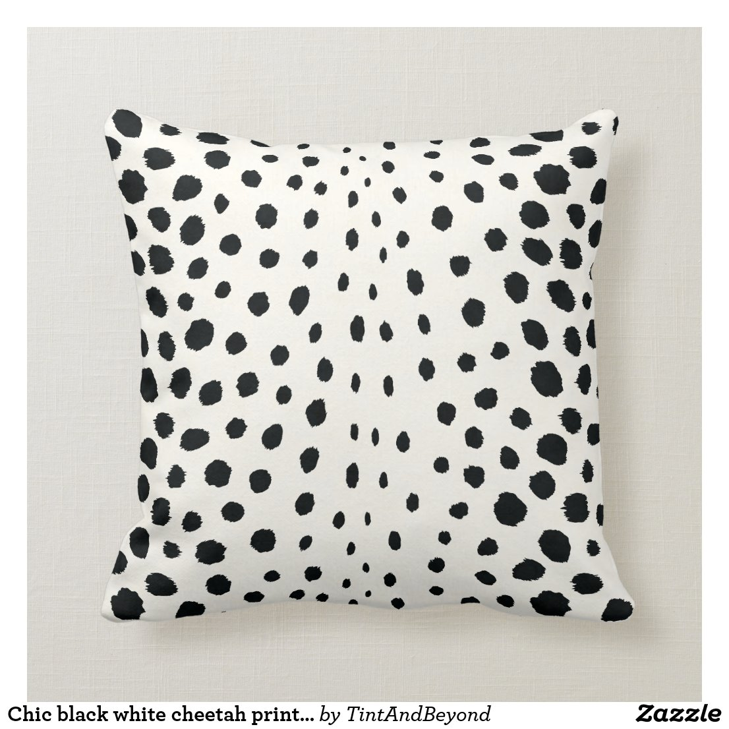 Chic black white cheetah print pattern monogram