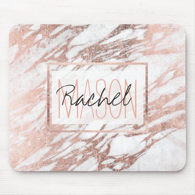 Chic Elegant White and Rose Gold Marble Monogram