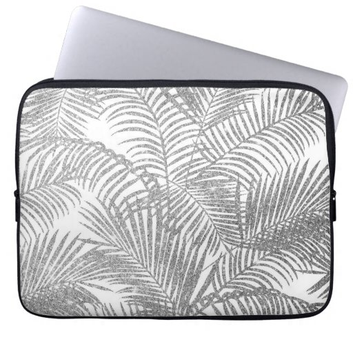 Chic faux silver glitter tropical plants pattern Laptop Sleeve