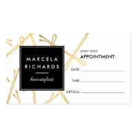 Chic Gold Bobby Pins Hairstylist Appointment Card