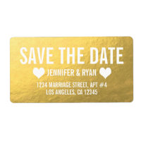 CHIC GOLD SAVE THE DATE LABEL