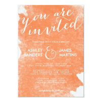 CHIC ORANGE WATERCOLOR WEDDING INVITATION