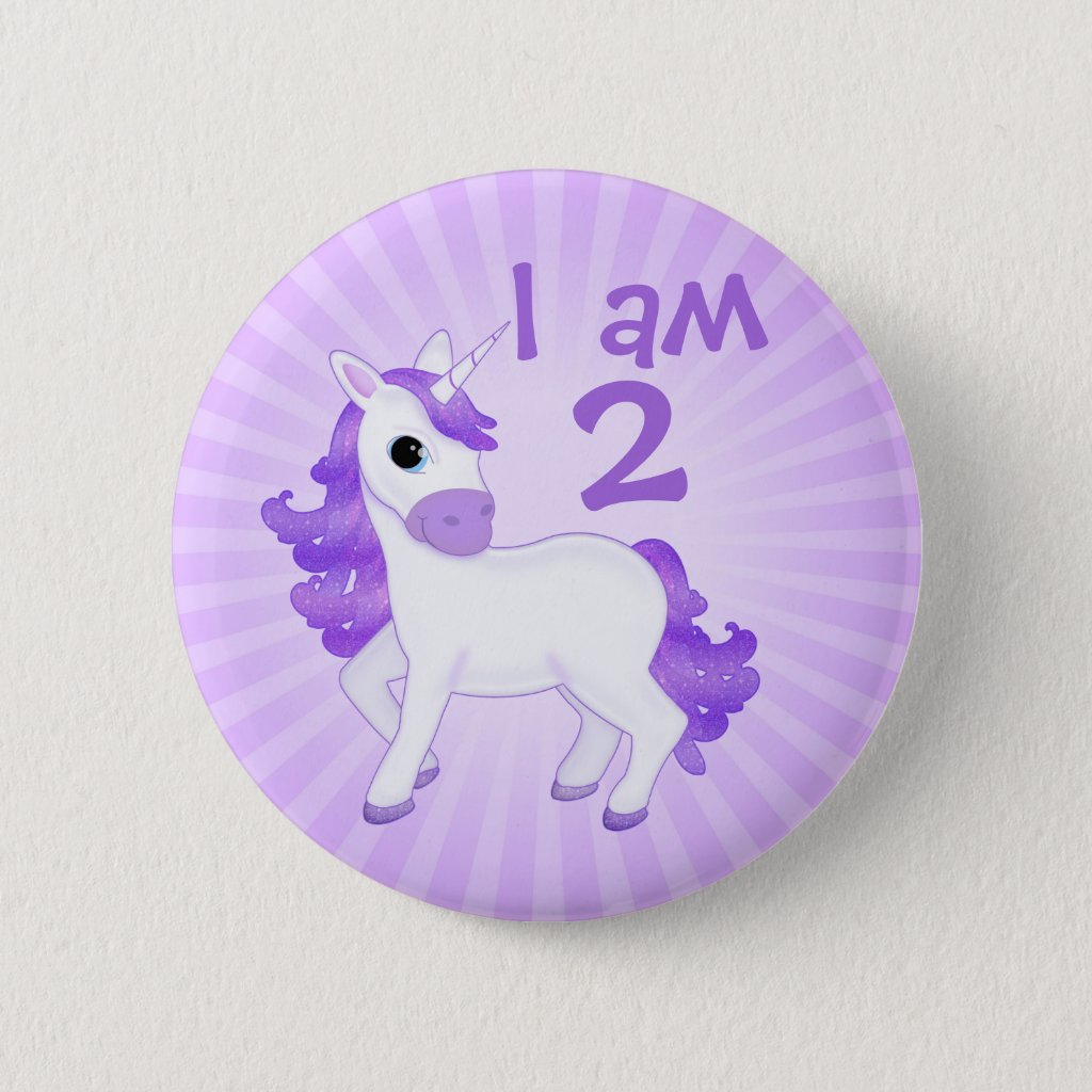 Childs Birthday Age Cute Purple Cartoon Unicorn