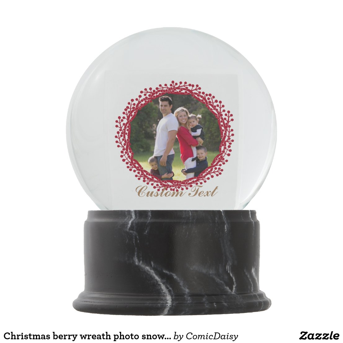 Christmas berry wreath photo snowglobe
