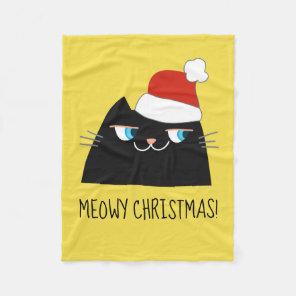 Christmas Cat Blanket | Black Kitty Cartoon Santa